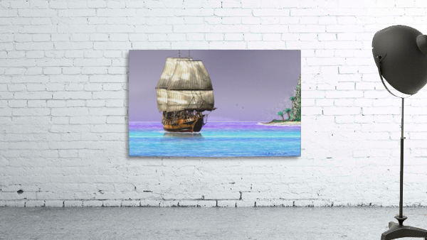 Sailship On A Tropical Island