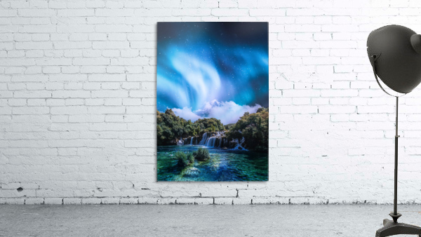 Aurora Polaris Over The Waterfall