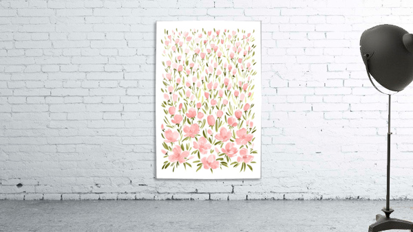 Field of pink watercolor flowers by blursbyai