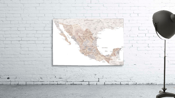 Detailed map of Mexico in neutral watercolor