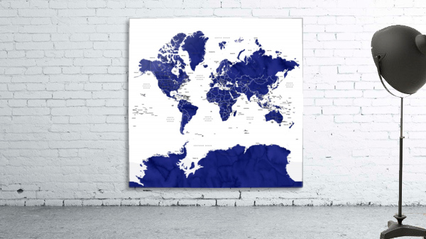 Navy blue watercolor world map with countries and states labelled
