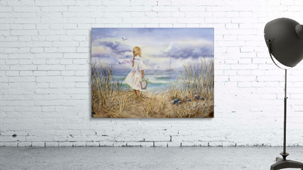 Girl Standing At The Ocean Watching Sailboat and Birds