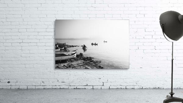 Fishing boats at the foggy port of Balchik