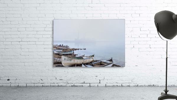 Fishing boats in fog