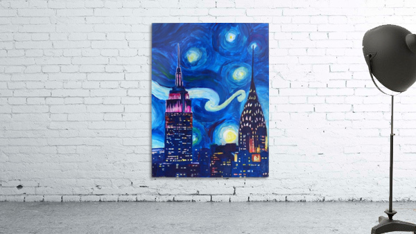 Starry Night in New York Van Gogh Manhattan Chrysler Building and Empire State Building