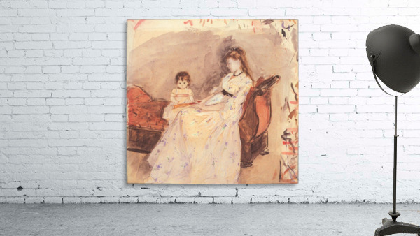 Edma, the sister of the artist with her daughter by Morisot