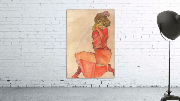 Egon Schiele - Kneeling Woman in Orange-Red Dress