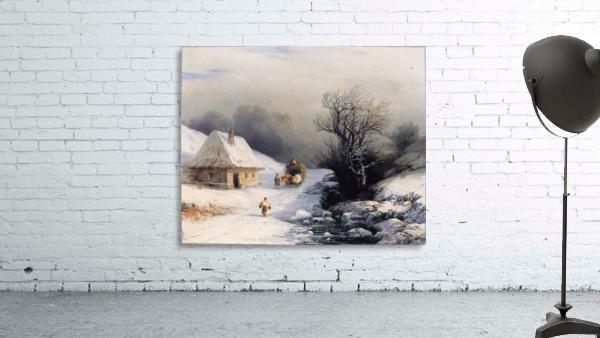 Little Russian Ox Cart in Winter