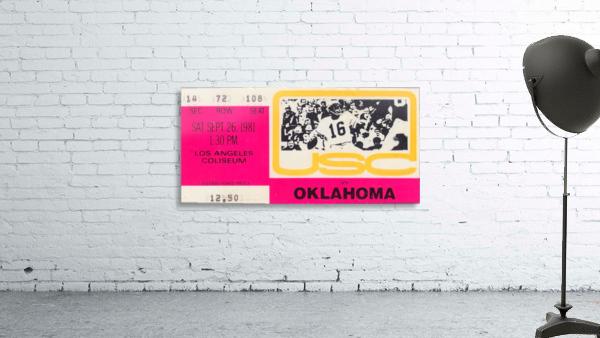 1981_College Football Art_USC vs. Oklahoma_Los Angeles Coliseum_College Football Rivalry Ticket