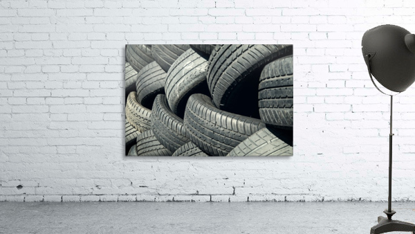 Tires stacked for recycling