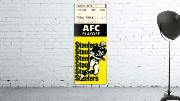 1974 Pro Football Season_AFC Playoff_Pittsburgh Steelers vs. Buffalo Bills_NFL Ticket Stub Art