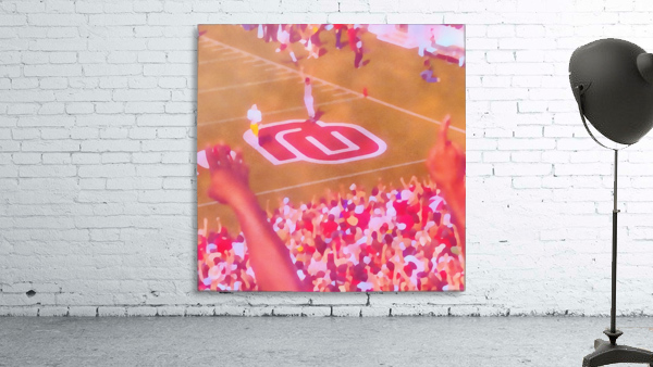 Oklahoma Football Art Owen Field OU Sooners Touchdown Art_Watercolor Style Retro 1980s Sports Art