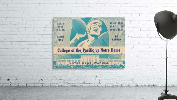 1940_College_Football_Pacific vs. Notre Dame_Notre Dame Stadium_Notre Dame Ticket Stub Art II
