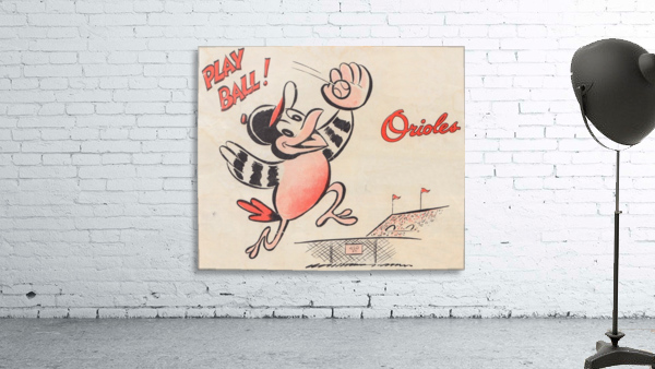 vintage baltimore orioles play ball art cartoon baseball poster metal canvas acrylic art