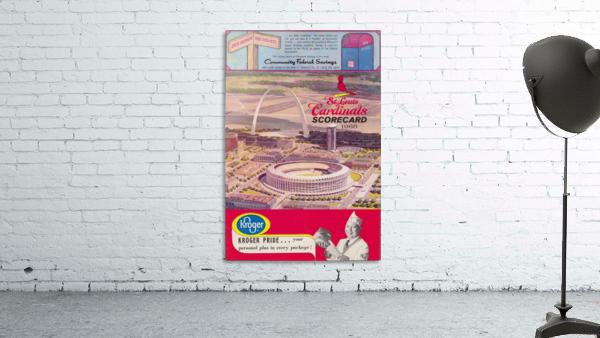 1966 St. Louis Cardinals Opening Game New Busch Stadium Scorecard Kroger Food Ad Poster