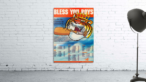 1985 detroit tigers bless you boys channel 4 wvid detroit michigan television tv ad poster metal art