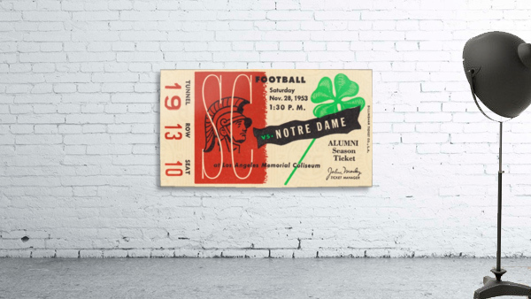 1953 usc notre dame football ticket stub print poster vintage metal sports tickets row 1