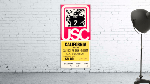1978 usc trojans california ticket stub art poster