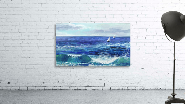 Two Boats In The Ocean Seascape Painting