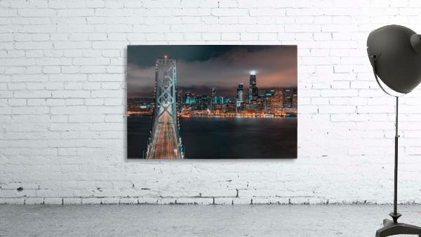 San Francisco Skyline at Night With The Bay Bridge