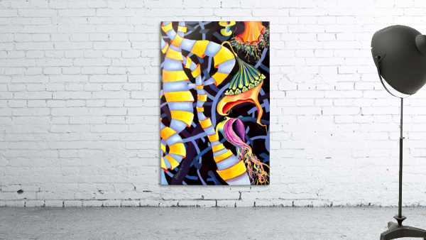 Watercolor Tropical Surrealism Orchids Painting