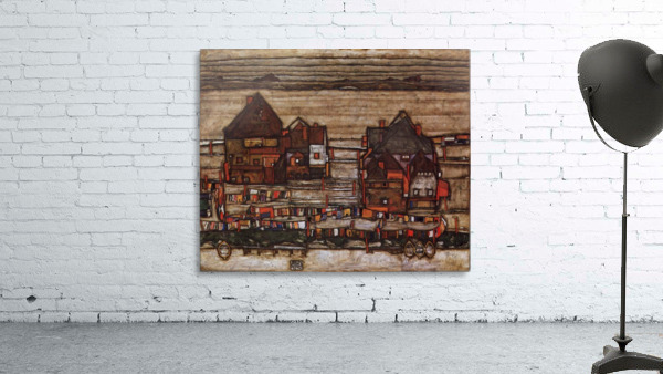 Houses with laundry lines and suburban by Schiele