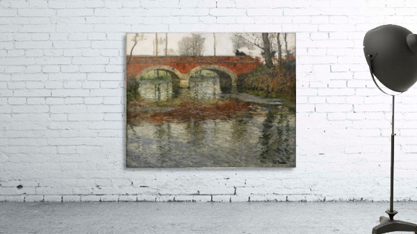 French River Landscape with a Stone Bridge