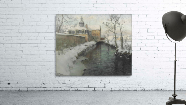 City wall with river during winter
