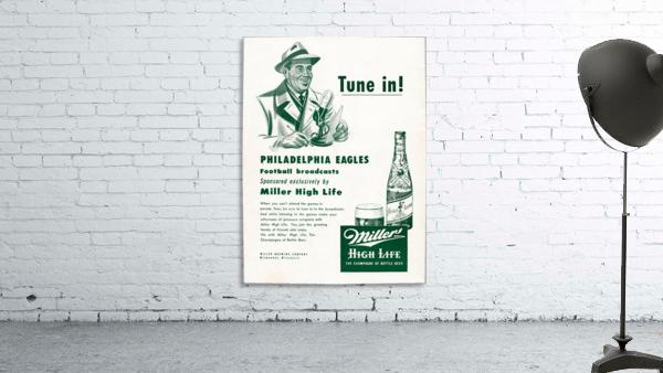 vintage philadelphia eagles miller high life ad poster