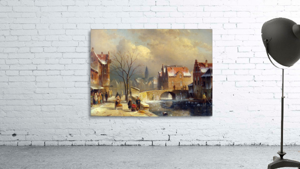 Winter villagers on a snowy street by a canal