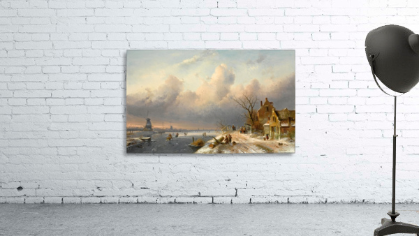 Winter landscape with figures and windmills