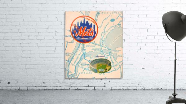 vintage mets shea stadium map poster metal man cave sign