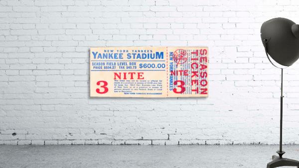 vintage yankees ticket stub metal sign