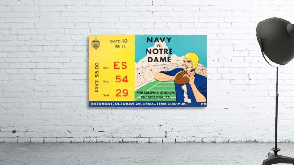 1960 navy notre dame ticket stub canvas