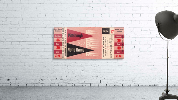 1950 pittsburgh notre dame vintage college football ticket wall art