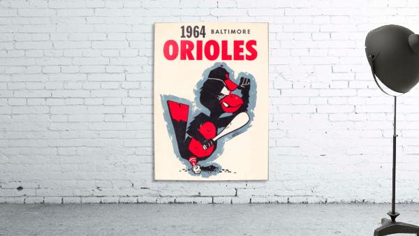 1964 baltimore orioles vintage baseball art poster