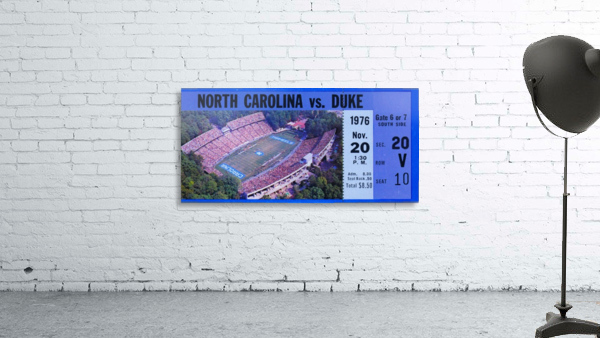 1976 duke north carolina vintage college football ticket art for the wall