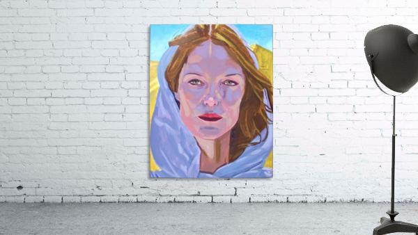 Beautiful blonde woman under a hard sun - Modern, Realism, Figurative, Portraiture, Acrylic  series