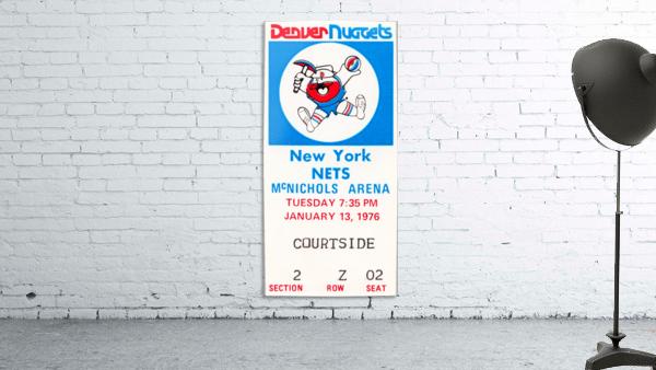1976 denver nuggets vintage ticket stub art