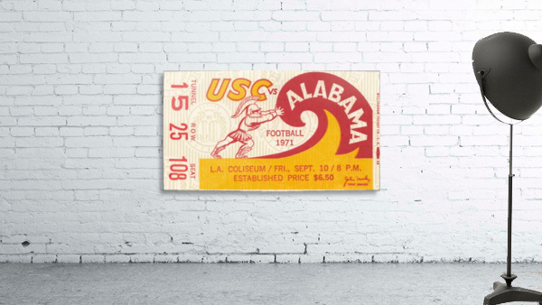 1971 alabama usc trojans football ticket stub prints on wood