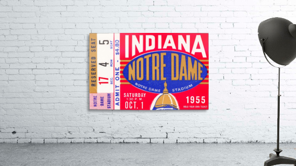 1955 indiana notre dame football ticket stub wall art canvas posters wood