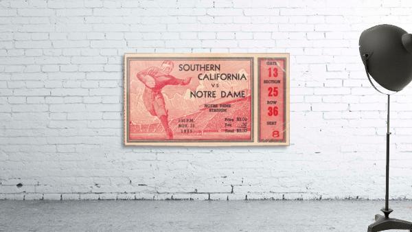 1935 Notre Dame Irish USC Trojans College Ticket Stub Art