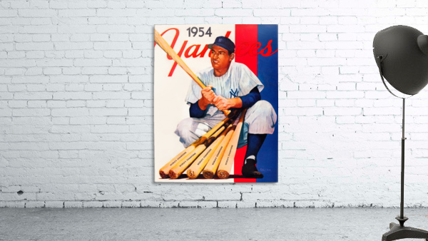 1954 new york yankees vintage baseball art