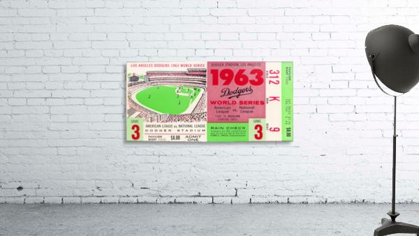 1963 world series ticket stub art la dodgers home decor
