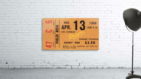 1966 la dodgers baseball ticket stub canvas art