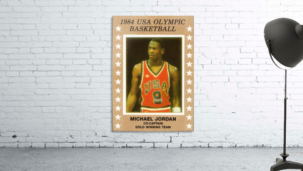 1984 usa olympic basketball gold medal michael jordan wood print