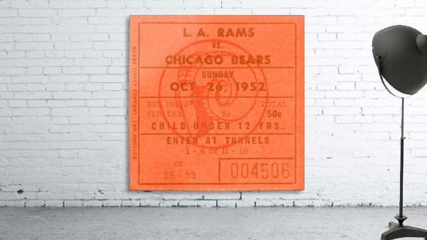 1952 la rams chicago bears nfl ticket art wood print