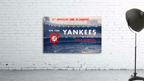 1963 new york yankees world champions scorecard canvas