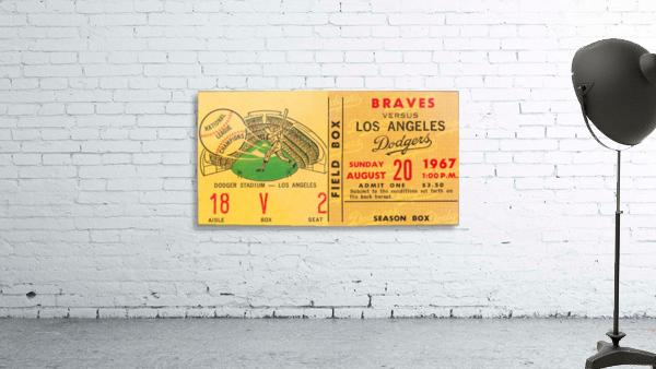 1967 LA Dodgers vs. Atlanta Braves Baseball Ticket Canvas