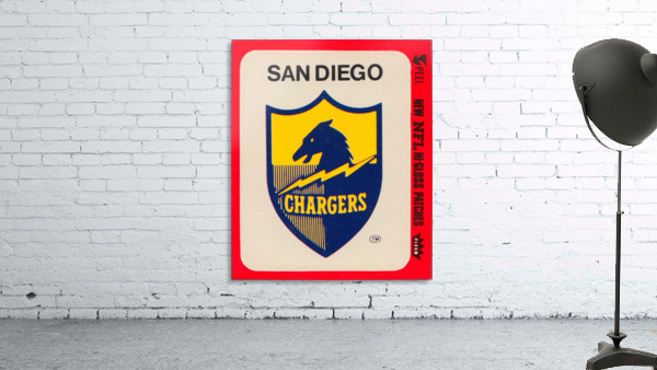 1981 fleer nfl high gloss patch san diego chargers sticker reproduction poster